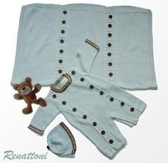 Knitted Boy 2 piece set Acqua blue romper and hat by Renattoni, $85.00