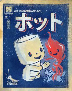 The marshmallow boy Japanese Pop Art, Japanese Artwork, Japanese Design, Kawaii Illustration, Graffiti Characters, Matchbox Art, Kawaii Art, Retro Art, Drawing For Kids