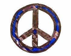 Groovystuff Small Cobalt Metal Art Peace Sign