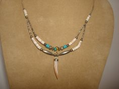 """Vintage Native American Indian BEAR CLAW NECKLACE ~ Sterling SIlver, Turquoise, Oyster Shell / Mother of Pearl ~ 19"""" Long by PastPossessionsOnly on Etsy"""