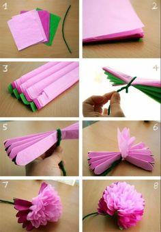 tuto fleur en papier de soie, étape par étape, idée activité manuelle adulte, activité manuelle printemps, decoration florale