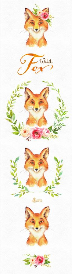 This set of 5 high quality hand painted watercolor foxes with wreaths, flowers and bouquet. Perfect graphic for invitations, greeting cards, photos, posters, wedding, quotes and more.  -----------------------------------------------------------------  INSTANT DOWNLOAD Once payment is cleared, you can download your files directly from your Etsy account.  -----------------------------------------------------------------  This listing includes:  4 x foxes with wreaths, flowers  1 x floral…