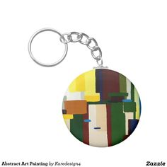 Abstract Art Painting Basic Round Button Keychain
