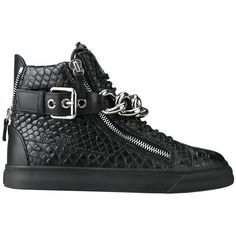 Giuseppe Zanotti High-top sneakers with chain ($1,027) ❤ liked on Polyvore featuring mens, men's shoes, men's sneakers, shoes and black