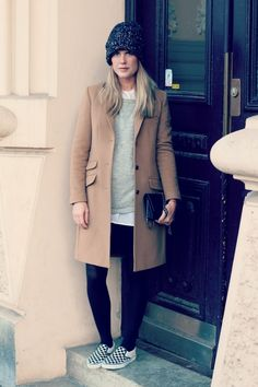 love the combination of vans and a cream coat.