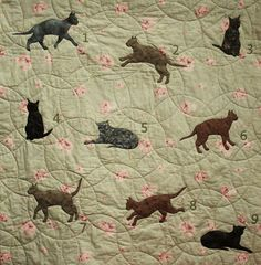 Cat applique quilt pattern. $10.00, via Etsy.  Template for making different positions of cats.  Cute Alert!