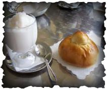 """In Sicily they have ice cream for breakfast! Well not exactly """"ice cream"""" but gelato, sorbetto, and granita along with the brioche, a kind of pastry. Here pictured is granita and brioche which is sure. Italian Drinks, Italian Ice, Classic Italian, Christmas Desserts, Fun Desserts, Comida Siciliana, Ice Cream For Breakfast, Italian Breakfast, Sicilian Recipes"""