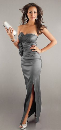 Sexy Long Silver Evening Dress Strapless Sweetheart Front Slit