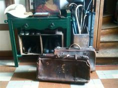 Antique Large Leather Travel Bag Suitcase / Hand by EnglishShop, £185.00