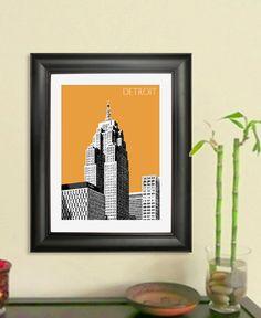 Detroit City Skyline - Detroit Skyline Poster Art Print 2, 8x10 - Choose your color on Etsy, $20.00