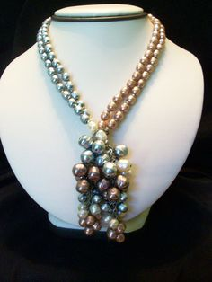 Miriam Haskell Vintage Early 1950s Tri Colored Baroque Pearl Lariat Necklace  - Personal Collection