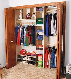 Ron designed an easy-to-build modular system that featured adjustable shelves and a closet rod to hang clothes. Description from woodworkersworkshop.com. I searched for this on bing.com/images