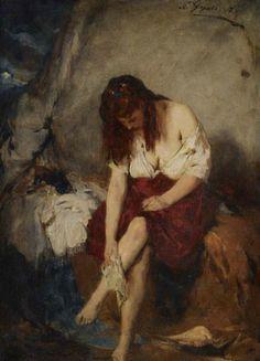 .:. Γύζης Νικόλαος – Gyzis Nikolaos [1842-1901]GIRL WASHING BY A RIVER, 1871
