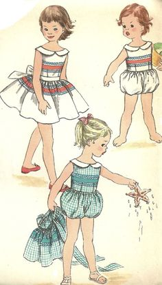 Great 1950s pattern for a child's one-piece playsuit and skirt with fabric detail and cute collar.