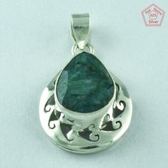 Lovable _ 925 Real Sterling Silver Emerald Agate Pendant Jewelry P2524…
