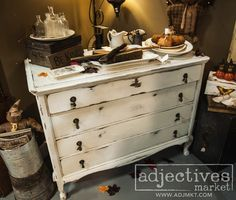 We love this beautiful white painted dresser by When Pigs Fly Again