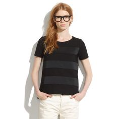 Madewell Black Satin Stripe Tee Shirt Small. Length: Approximately 25.5 inches. Approximately 19 inches from armpit to armpit. Rich matte ponte knit with high shine satin stripes. Slight boxy fit. Unlined. 63% Viscose, 28% Nylon, 9% Spandex. Stripe panels: 100% Polyester. Madewell Tops Tees - Short Sleeve