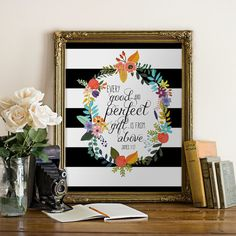 Every Good and Perfect Gift Stripes Bible Verse by PrintableVerses