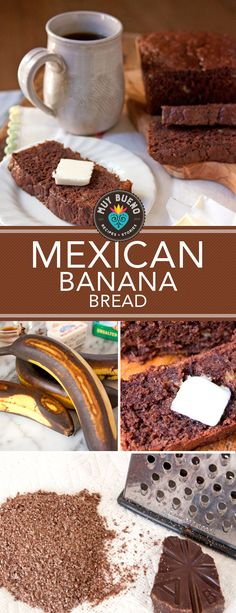 This Mexican chocolate banana bread is sweet, nutty, and supremely moist and eve. - This Mexican chocolate banana bread is sweet, nutty, and supremely moist and everything you love ab - Authentic Mexican Recipes, Mexican Chicken Recipes, Mexican Sweet Breads, Mexican Bread, Mexican Dishes, Mexican Desserts, Mexican Brunch, Delicious Desserts, Dessert Recipes