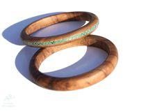 Bracelets en bois tourné avec incrustation en pâte polymère. Le bruit des vagues