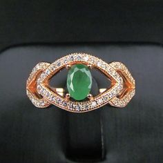 Natural Emerald gem ring genuine 925 sterling silver precious stones rings gold plated Women fine gems jewelry