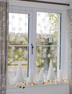 My dining room window by Torie Jayne Christmas Window Decorations, Christmas Window Display, Noel Christmas, Christmas And New Year, Dining Room Windows, Laura Ashley, Holiday, Ideas, Design