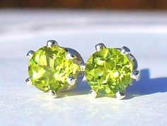NEW Silver EARRINGS 4mm 1/2ct each Bright Flashy Green Mogok-Mined PERIDOT #Handmade #Stud
