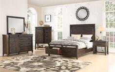 Rustic Contemporary Brown 4 Piece Queen Bedroom Set   Montana
