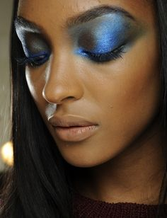 Eyeshadow at Prabal Gurung. Winter blues takes on a whole new meaning with the rise of navy shadows at Fashion Week. Prabal Gurung opted for electric hues, but Jason Wu chose a more subtle look and patted models' lids with sapphire shimmer. Try an azure smokey eye for a night out on the town, or sweep a deep denim shade across lids for a punch of style on any jeans-and-tee-shirt day.
