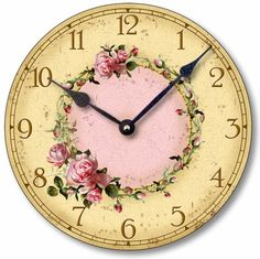 Amazon.com - Item C6032 Vintage Style Shabby Chic Pink Roses Clock (10.5 Inch Diameter) - Wall Clocks