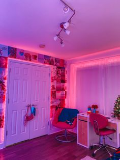 Neon Bedroom, Room Design Bedroom, Room Ideas Bedroom, Bedroom Inspo, Bedroom Inspiration, Bedroom Wall, Bedroom Decor For Teen Girls, Cute Bedroom Decor, Teen Room Decor