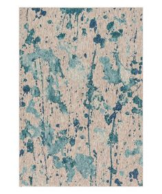 Take a look at this Aqua & Gray Splatter Indoor/Outdoor Rug today!