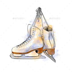 Buy Pair of Figure Ice Skates by kapona on GraphicRiver. Pair of figure ice skates from a splash of watercolor, hand drawn sketch. Vector illustration of paints Ice Skating Party, Skate Party, Figure Skating Dresses, Skating Rink, Ice Skating Beginner, Ice Skating Videos, Skate Wallpaper, Skate Logo, Ice Skate Drawing