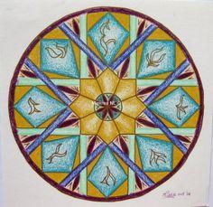 228 Islamic Geometry, by Miekrea NL - Mrt. 2004 (used: crayons, gold fineliner)