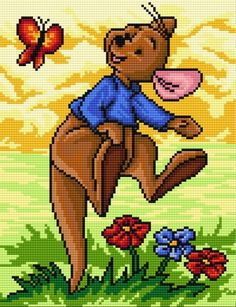 Winnie the Pooh Roo cross stitch. Disney Cross Stitch Patterns, Cross Stitch For Kids, Cross Stitch Baby, Modern Cross Stitch, Cross Stitch Charts, Cross Stitch Designs, Beaded Cross Stitch, Cross Stitch Embroidery, Embroidery Patterns