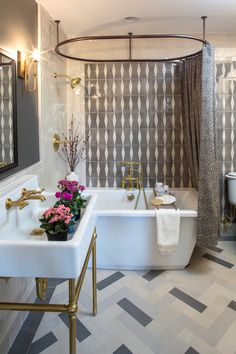 Glam bathroom with  Fiore™ freestanding bath by The Art of Room Design for the 2017 Pasadena Showcase House. Photographer Dale Berman.