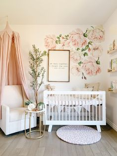 Rose Flower Wall Stickers add floral vintage fun to your wall - perfect for a blush nursery for baby girl! Just peel and stick our watercolor peonies to a wall in your nursery, kids room or home office. Flower Wall Decals, Nursery Wall Decals, Baby Nursery Decor, Baby Bedroom, Baby Decor, Vintage Nursery Girl, Garden Nursery, Rustic Nursery, Baby Nursery Ideas For Girl