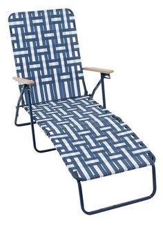 Beach Furniture-Access : Rio Brands Web Chaise Lounge Adjustable Backrest Blue/White Steel 240 lb.