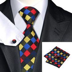 C-423 New Style Men's 100% Silk Neckties Tie+Hanky+Cufflinks Sets Free Shipping #JASONVOGUE #NeckTieSet