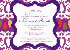 Big Damask JEWEL TONES Bridal Shower Invitation. Brilliant Purples, Magenta and Gold by Tipsy Graphics  $16