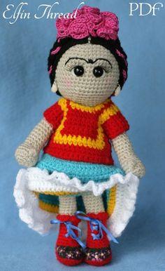 Elfin Thread - Friducha in Tehuana Dress Amigurumi Doll PDF Pattern (Crochet Typical Mexican Doll) Amigurumi Patterns, Amigurumi Doll, Crochet Patterns, Knitted Dolls, Crochet Dolls, Amigurumi For Beginners, Single Crochet, Embroidery Patterns, Crochet Projects