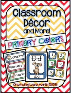This primary color class decor set includes the following:1-Large Alphabet Line-for Wall Display2-Small Alphabet Line-for Word Wall or Flash Cards3-Small Letter Cards-for Word Wall or Leveled Book Baskets4-ABC Charts-color and blackline5-Name Plates6-Large Number Cards- 0-20-for Wall Display7-Days of the Week8-Months of the Year9-Number Cards-0-50-for Calendar Use, Learning Tubs, or Number practice.10-Table signs- Tables 1-8NO beginning blends or digraphs are included in my alphabet line.