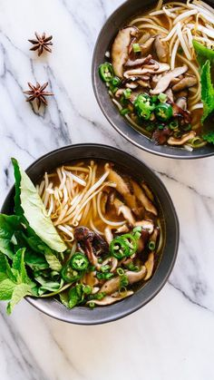 This vegetarian pho recipe (Vietnamese noodle soup) is full of flavor thanks to spices herbs and sautéed shiitake mushrooms! Its easy and fun to make too. - March 03 2019 at Soup Recipes, Cooking Recipes, Healthy Recipes, Clean Recipes, Casserole Recipes, Snack Recipes, Dinner Recipes, Clean Eating, Healthy Eating
