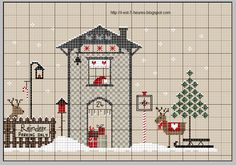 In winter time - reindeer meeting point Cross Stitch House, Xmas Cross Stitch, Cross Stitch Charts, Cross Stitch Designs, Cross Stitching, Cross Stitch Embroidery, Cross Stitch Patterns, Cross Stitch Christmas Ornaments, Christmas Embroidery