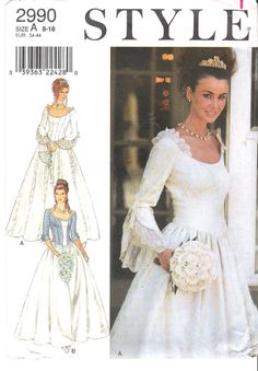 Lovely Princess Style Scoop Neck Wedding Dress, Bridesmaid Dress, Ballgown or Costume Style Sewing Pattern 2990 Uncut