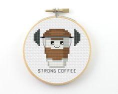Cappurrrcino cross stitch pattern cappucinno pattern coffee