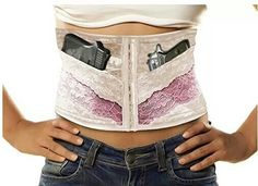 Via females with firearms.  Concealed carry Corsets available on Amazon in diff colors