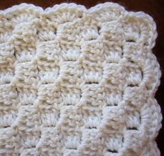 Sea Trail Grandmas: Preemie Crochet Blanket and Hat Horizontal Alternate Blocks Pattern With Scallop or Crab Stitch Crochet Border