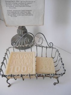 A Little Bit French: French Soaps in a Wire Soap Basket