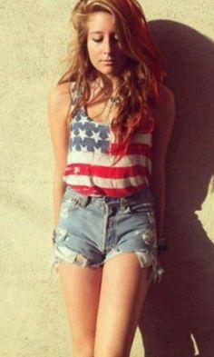 American flag shirt - high waisted shorts